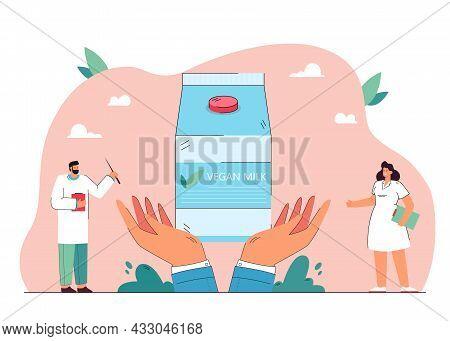 Cartoon Medical Professionals Recommending Vegan Milk. Giant Hands Holding Carton Of Lactose Free Mi