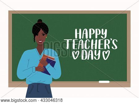 Happy Teachers Day Vector Concept. Young African American Woman Teacher Standing Smiling With Books