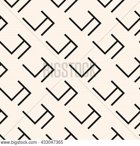Basic Geo Seamless Pattern With Grid, Lattice, Mesh. Simple Abstract Repeat Ornament. Fashion Monoch