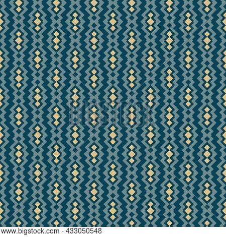 Seamless Ethnic Vector Pattern. Geometric Abstract Tribal Illustration With Teal And Gold Zigzag, Li