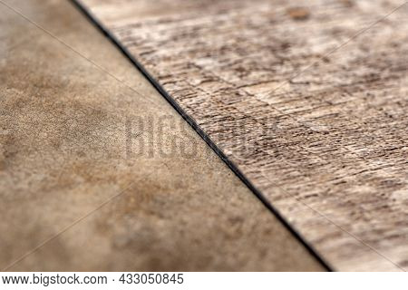 Vinyl Floor, Wood Samples. Small Colored Boards. Image For Design With Copy Space On Black Vinyl Flo