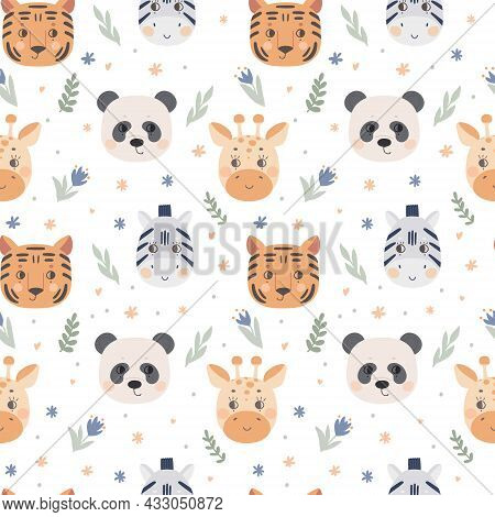 Seamless Pattern With Cute Animal Faces. The Muzzle Of A Tiger, Zebra, Giraffe, Panda On A White Bac