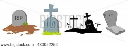 Halloween Grave. Old Gravestone With Cracks. Tomb On White Background. Ancient Rip. Granite Plate Wi