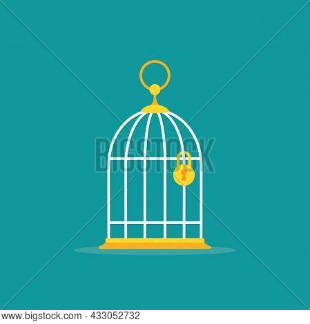 Locked Golden Bird Cage With Golden Lock Icon. Trap, Imprisonment, Jail Concept. Empty Cage. Line Si