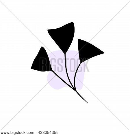 Branch With An Abstract Round Spot. Artistic Floral Minimalist Print. Isolated Black Silhouette Of A