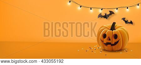 Halloween Background With Lamps Light, Pumpkin And Halloween Elements On Orange Color Background.web
