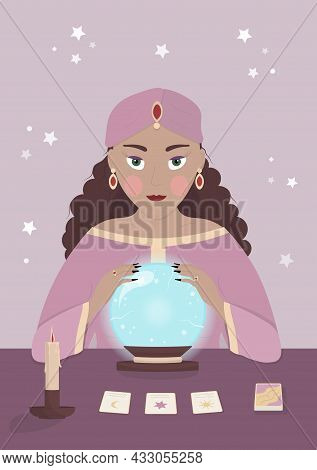 Gypsy Fortune Teller With Crystal Ball, Tarot And Candle On The Table. Concept Vector Illustration I