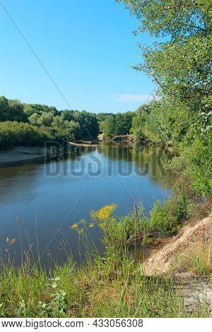 Landscape With River In Summer. River Landscape With Sandy Banks