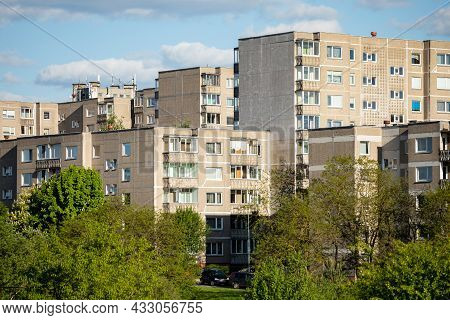 Vilnius, Lithuania - May 31, 2021: Sovietic Architecture In Vilnius, Lithuania. Typical Prefabricate