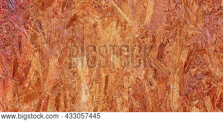 Brown Oriented Strand Board (osb) Textured Wood Material. Abstract Background, Banner.