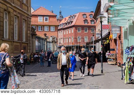 Munster, Germany North Rhine-westphalia August 15, 2021 People In Face Mask Covid19 On The Streets O