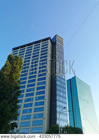 Beautiful High Rise Building In The Blue Sky. 10.07.2021 Warsaw, Poland