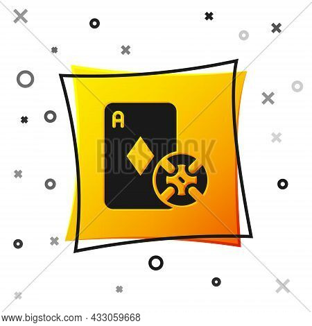 Black Casino Chip And Playing Cards Icon Isolated On White Background. Casino Poker. Yellow Square B