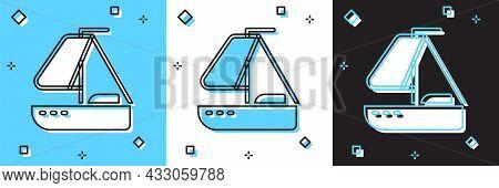 Set Yacht Sailboat Or Sailing Ship Icon Isolated On Blue And White, Black Background. Sail Boat Mari