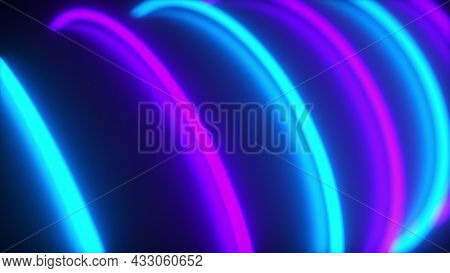 Magic Round 3d Render Energy Of Glowing Abstract Whirlpool. Rotating Rounded Stripes Of Light In Nig