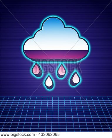 Retro Style Cloud With Rain Icon Isolated Futuristic Landscape Background. Rain Cloud Precipitation