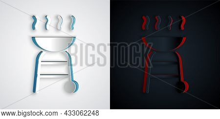 Paper Cut Barbecue Grill Icon Isolated On Grey And Black Background. Bbq Grill Party. Paper Art Styl
