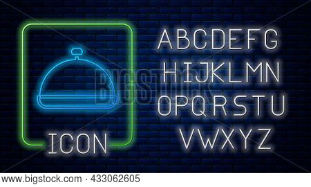 Glowing Neon Covered With A Tray Of Food Icon Isolated On Brick Wall Background. Tray And Lid Sign.