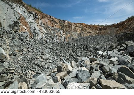 Open-pit Stone Quarry In A Sunny Day.