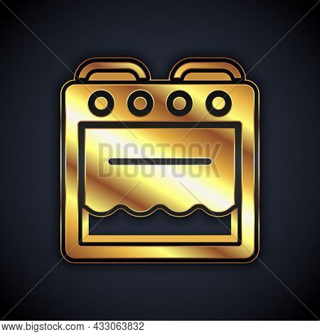 Gold Oven Icon Isolated On Black Background. Stove Gas Oven Sign. Vector