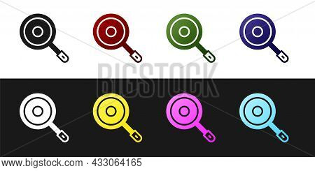 Set Frying Pan Icon Isolated On Black And White Background. Fry Or Roast Food Symbol. Vector
