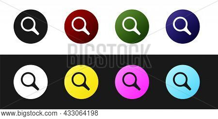 Set Magnifying Glass Icon Isolated On Black And White Background. Search, Focus, Zoom, Business Symb