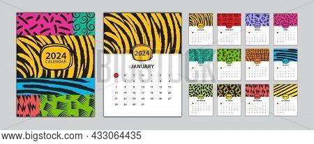 Desk Calendar 2024 Template Set, Calendar Design Memphis Style, Wall Calendar 2024 Design, Poster, M