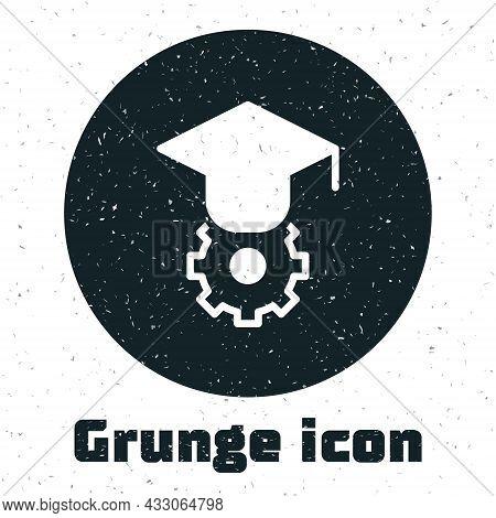 Grunge Graduation Cap Icon Isolated On White Background. Graduation Hat With Tassel Icon. Monochrome
