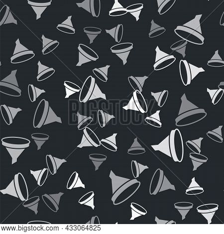 Grey Funnel Or Filter Icon Isolated Seamless Pattern On Black Background. Vector