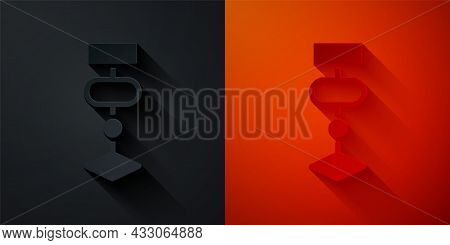 Paper Cut Algorithm Icon Isolated On Black And Red Background. Algorithm Symbol Design From Artifici