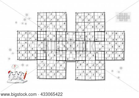 Logic Game For Smartest. Giant Sudoku. Big Size Puzzle With 7 Squares, Difficult Level. Printable Pa