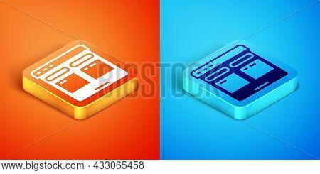 Isometric Online Translator Icon Isolated On Orange And Blue Background. Foreign Language Conversati