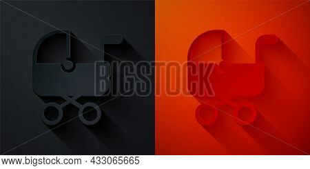 Paper Cut Baby Stroller Icon Isolated On Black And Red Background. Baby Carriage, Buggy, Pram, Strol