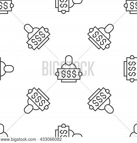 Grey Line Fortune Lottery Win Composition With Lucky Winner Holding Prize Ticket Icon Isolated Seaml