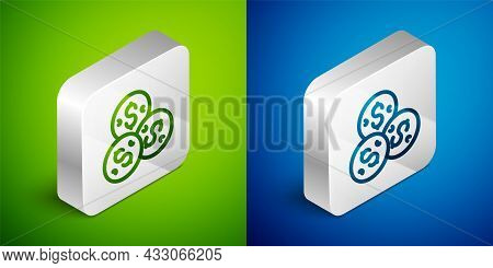 Isometric Line Casino Chip With Dollar Symbol Icon Isolated On Green And Blue Background. Casino Gam