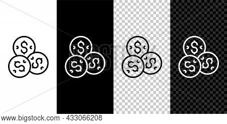 Set Line Casino Chip With Dollar Symbol Icon Isolated On Black And White, Transparent Background. Ca