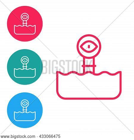 Red Line Periscope In The Waves Above The Water Icon Isolated On White Background. Set Icons In Circ