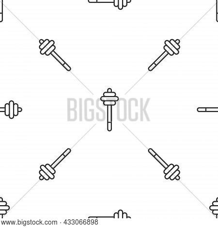 Grey Line Honey Dipper Stick Icon Isolated Seamless Pattern On White Background. Honey Ladle. Vector