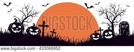 Silhouette Of Halloween Pumpkins On Cemetery. Orange Moon On White Background. Banner With Jack O' L