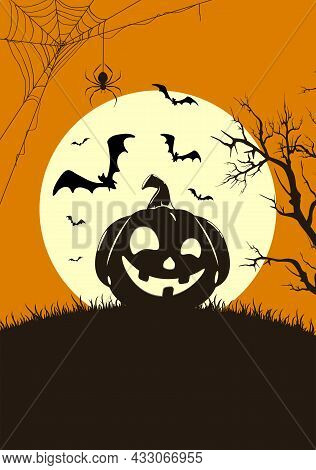 Silhouette Of Smiling Pumpkins On Orange Halloween Background With Full Moon. Card With Jack O' Lant