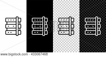 Set Line Server, Data, Web Hosting Icon Isolated On Black And White, Transparent Background. Vector