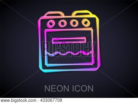 Glowing Neon Line Oven Icon Isolated On Black Background. Stove Gas Oven Sign. Vector
