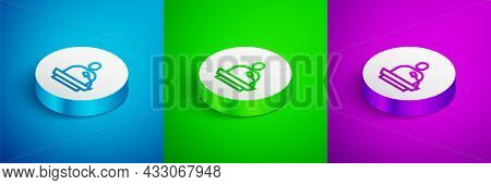 Isometric Line Gives Lecture Icon Isolated On Blue, Green And Purple Background. Stand Near Podium.