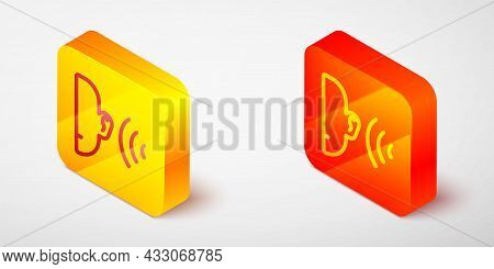 Isometric Line Ear Listen Sound Signal Icon Isolated On Grey Background. Ear Hearing. Yellow And Ora