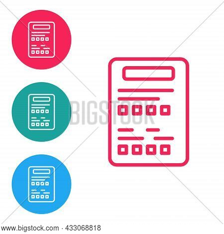 Red Line Exam Sheet Icon Isolated On White Background. Test Paper, Exam, Or Survey Concept. School T