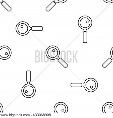 Grey Line Magnifying Glass Icon Isolated Seamless Pattern On White Background. Search, Focus, Zoom,