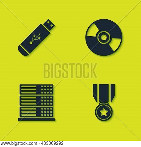 Set Usb Flash Drive, Medal With Star, Server, Data, Web Hosting And Cd Or Dvd Disk Icon. Vector