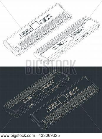 Synthesizer Keyboard Isometric Blueprints