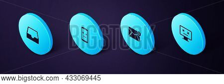Set Isometric Dead Monitor, New, Email Incoming Message, Mobile And Social Media Inbox Icon. Vector