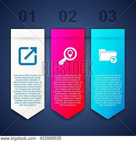 Set Open In New Window, Search Location And Unknown Directory. Business Infographic Template. Vector
